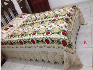 Colcha Casal Queen Size Kit Bordada Em Ponto Cruz E Crochê 4