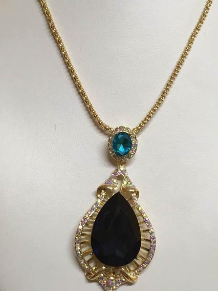 Collar Gota Azul Zafiro Y Gota Aguamarina Chapa De Oro 14k