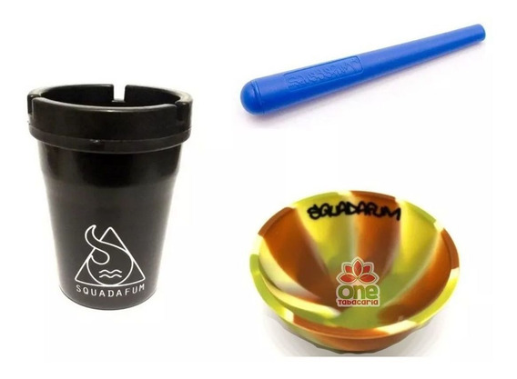 Kit Sdf Cuia Silicone + Cinzeiro Turn Off + Porta Cigarros