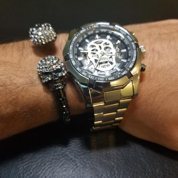 Reloj Mecanico Skull Calavera Plata Skeleton + Pulsera Doub