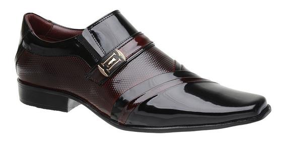 Sapato Social Malbork Em Couro Verniz Dark Red 0751