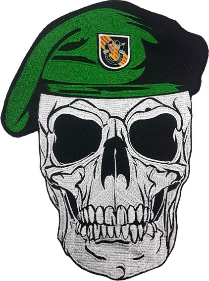 Parche Bordado Calavera Boina Verde Grande Motoquero Militar
