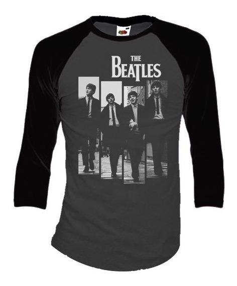 Beatles Playeras Manga 3/4 Para Hombre Y Mujer