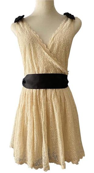 Vestido A La Cintura Encaje Color Beige Forrado Kosiuko