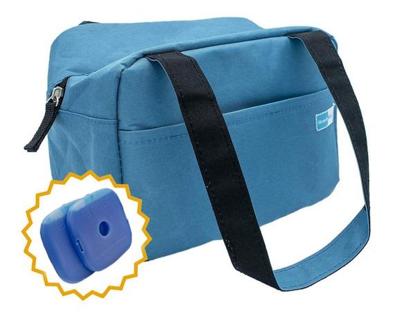 Lonchera Térmica Azul 2paquetes Hielo Gratis Escolar Oficina