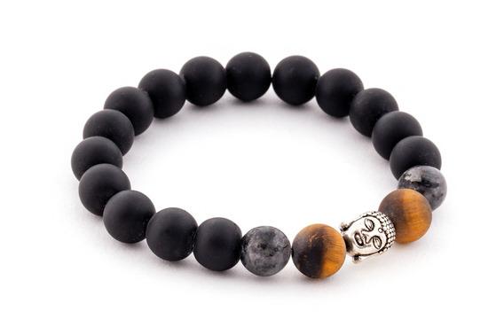 Pulsera Para Hombre Thai Silver Buddha Black And Brown