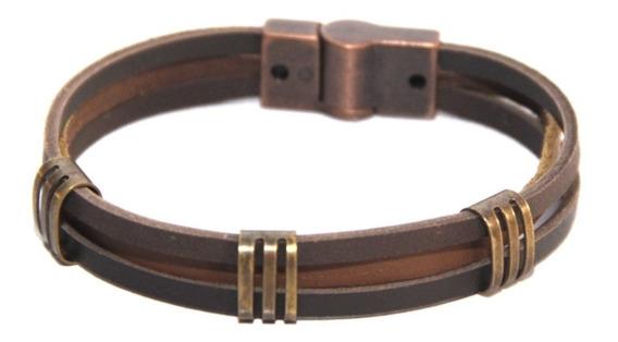 Pulseira Bracele Marrom Detalhes Ouro Velho Fecho Magnético