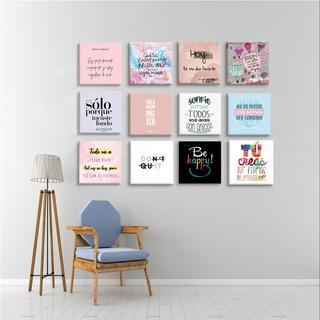 Set De 12 Cuadros Decorativos, , Frases Motivadoras