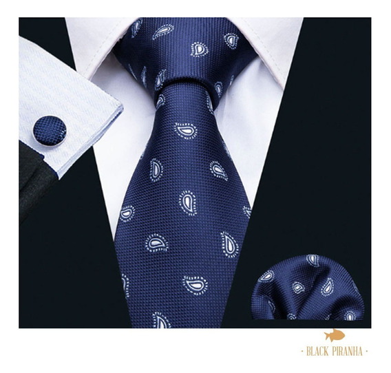 Corbata Pañuelo Y Mancuernillas Azul Marino Paisley Blanco