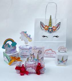 Kit Personalizados Festa Unicornio Bala Passa Fita 3d
