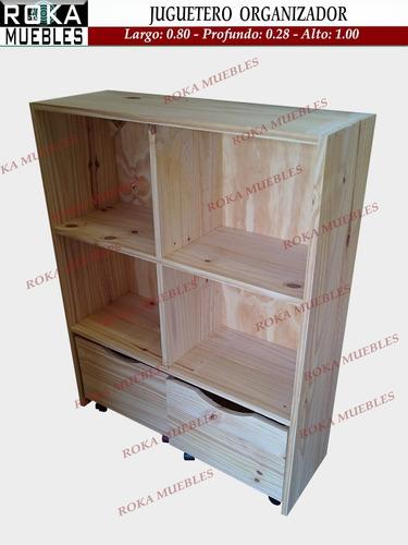 Imagen 1 de 3 de Juguetero Baul Organizador Biblioteca Estante Cubos X 2 Pino