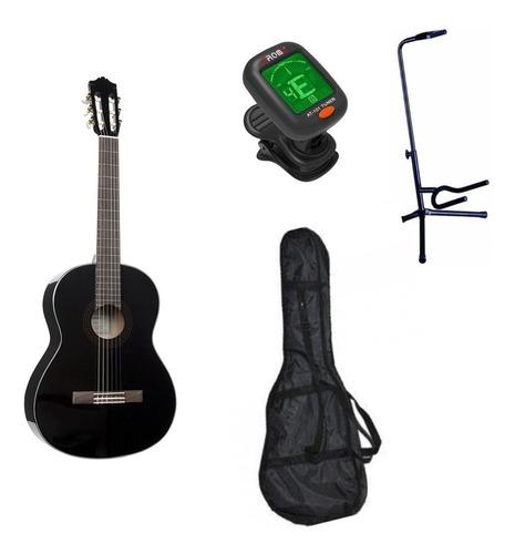 Imagen 1 de 3 de Yamaha C40bl Paquete Guitarra Acustica Atril Funda Afinador