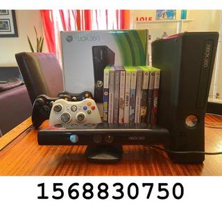 Xbox 360 Slim 4gb Con Sensor Kinect Y 12 Juegos Originales