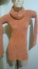 Vestido Feito A Mão Tricot Artesanal Manga Longa Inverno