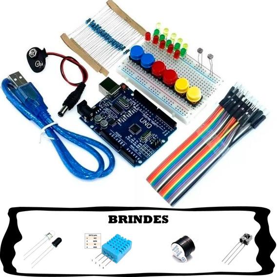 Kit Arduino Uno R3 Básico Iniciante Sensores Brindes Automaç