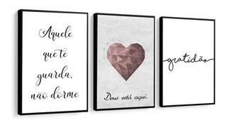 Quadro Decorativo Coração Rose Frases Motivacionais Decor