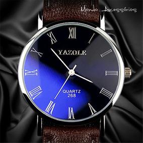 Relógio Masculino Pulso Original Yazole Pulseira De Couro