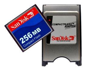 Cf 256 Mb Compact Flash + Adaptador Pcmcia Sandisk