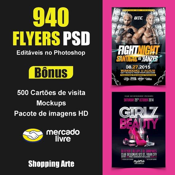 940 Flyers + Cartão De Visitas + Mockups Editáveis Ps