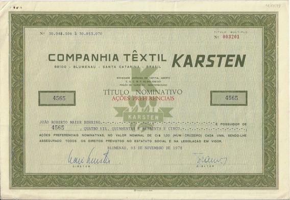 1978 Ação Preferencial Nominativa Companhia Têxtil Karsten