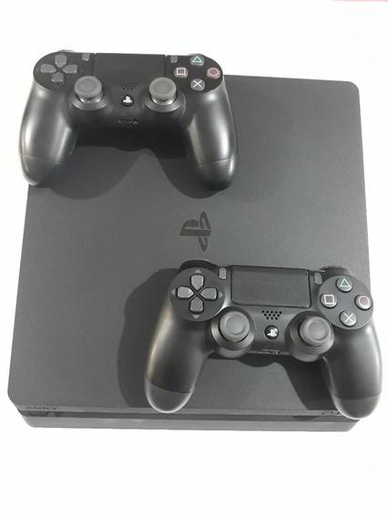 Playstation 4 Slim 500gb Bivolt 2 Controles Case Cabo Fone