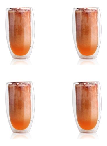Imagen 1 de 2 de Juego De 4 Vasos De Doble Pared Con Fondo Curvo 330 Ml.