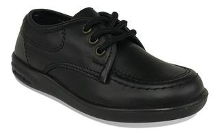 Zapato Colegial Croydon Cuero Negro Azul Niño Niña Uniforme