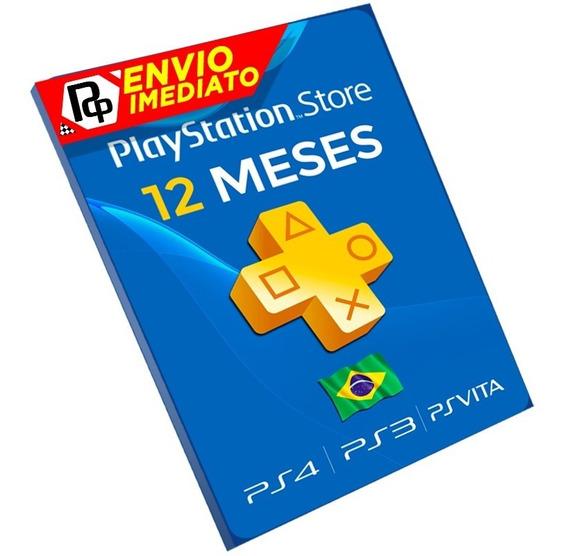 Cartão Playstation Plus Assinatura 12 Meses Psn Brasileira