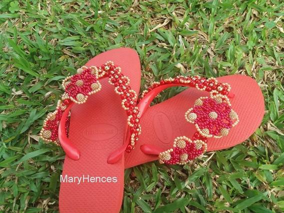Chinelo Feminino Havaianas Personalizado Vermelho E Dourado