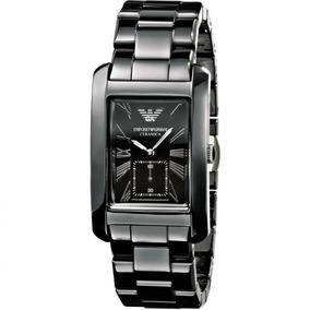 Relógio Emporio Armani Quadrado Cerâmica Original Nf Ar1406