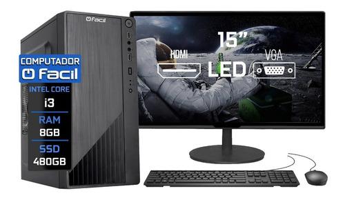 Imagem 1 de 5 de Computador Fácil Completo Intel I3 8gb Ssd 480gb Monitor 15