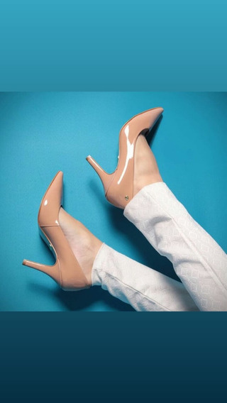 Sapato De Salto Alto Bico Fino Verniz Feminino
