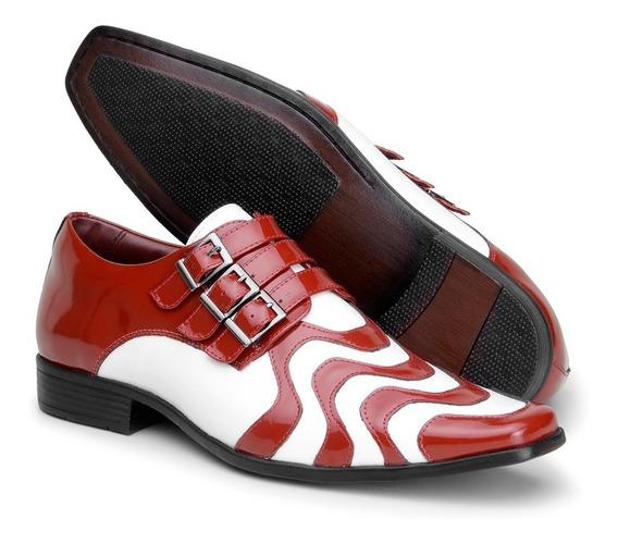 Sapato Social Masculino Verniz Dança Vermelho E Branco 0451