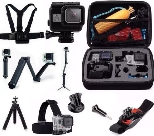 Kit Go Pro Hero 5 6 7 Mala Caixa Estanque Preta 3 Way Tripé