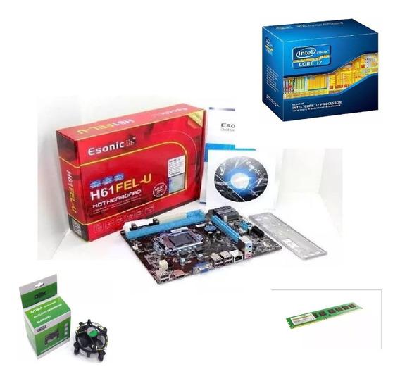 Kit Placa Mãe H61 + Processador I7 2600 3.8 Ghz + 8gb Ddr3