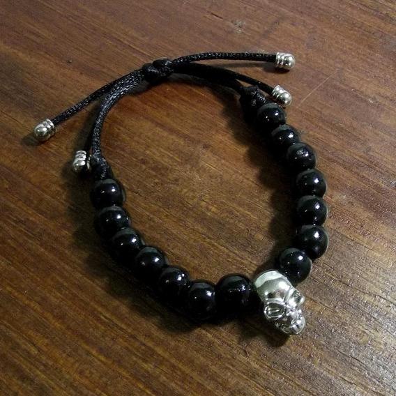 Pulseira Masculina Bracelete Caveira Skull Crânio Ajustável