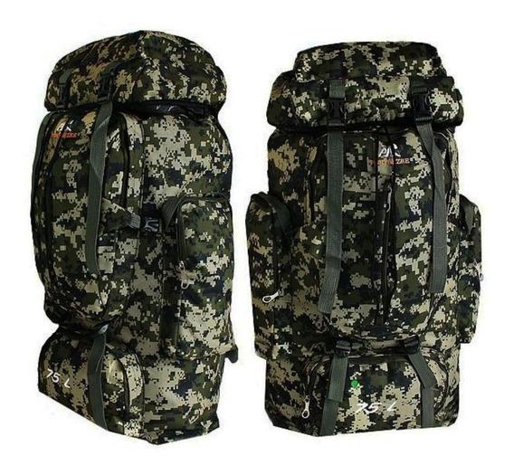 Mochila Camping Camuflada Militar Impermeável 75 L Trilhas