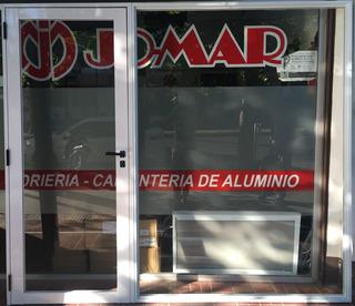 Puerta + Paño Fijo, Frente De Local Aluminio Blanco