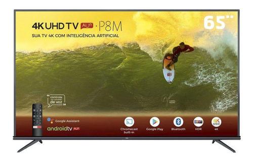 Smart Tv Led 65  4k Tcl 65p8m Com Android Tv, Controle Remot