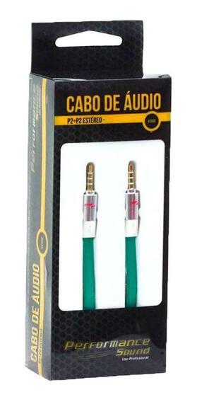 Cabo De Áudio P2 Para P2 Estéreo Chip Sce Verde 2 Metros