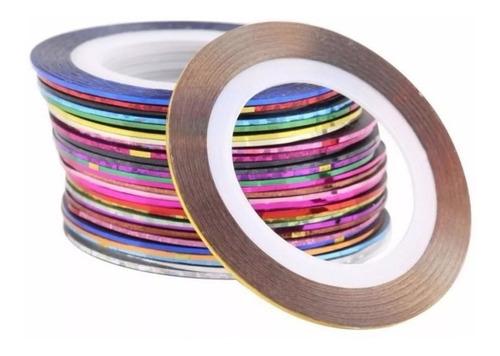 Kit 10 Fitas Metalizadas Fio De Ouro Adesiva Películas Unhas