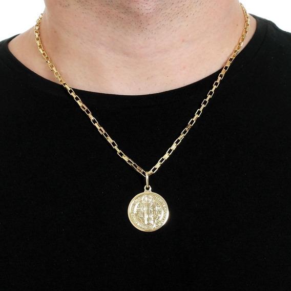 Cordão Masculino 50cm 3mm Pingente São Bento Banhado Á Ouro