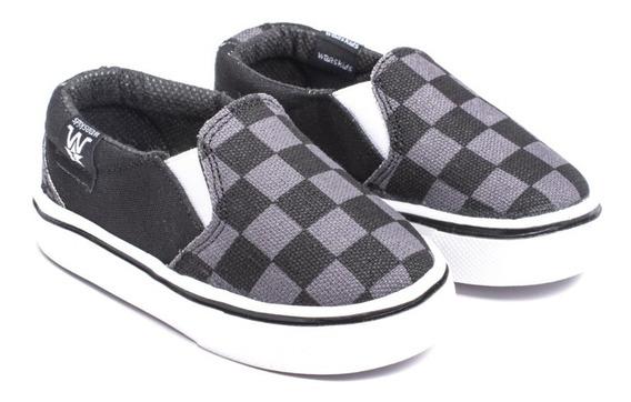 Alpargatas Panchas Bebes Negra-gris Tipo Vans Del 17 Al 26