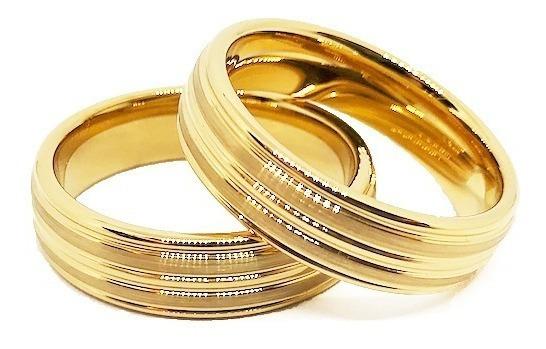 Alianças De Tungstênio 6mm Banhadas A Ouro 18k Amor Eterno