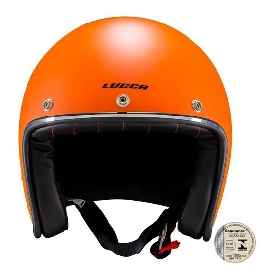 Capacete Lucca Custom Old School Matt Orange Sem Viseira