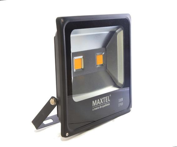 Refletor Led 100w Holofote Maxtel Branco Quente Bivolt Ip66