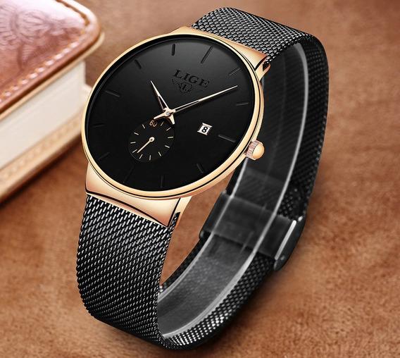 Relógio Pulso Luxo Silicone Adulto Unissex Preto Lige