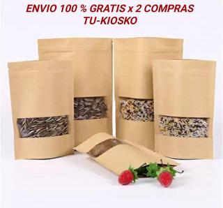 120 Bolsas Ziploc Papel Kraft 12x20x4 Cm / Envio Todo Chile