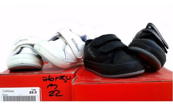 Zapatillas Kickers Para Niños Puntera Reforzada Bco Y Negro