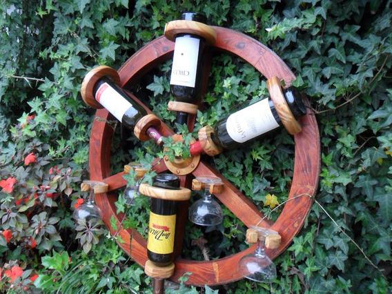 Bodega Colgante Rueda De Carro Para 4 Botellas Y 4 Copas